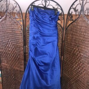 David's Bridal royal blue strapless dress